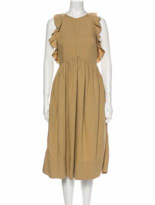 Ulla Johnson Crew Neck Midi Length Dress Brown