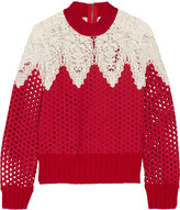 Sea Crochet-paneled ribbed wool and broderie anglaise cotton sweater