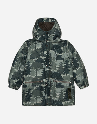 Dolce & Gabbana Long Nylon Down Jacket With Hood And Forest Print