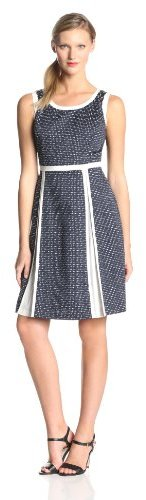 Anne Klein Women's Dot Gingham Fit and Flare Dress