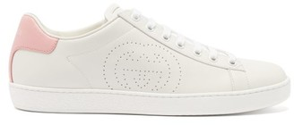 Gucci Ace Perforated-logo Leather Trainers - Pink White