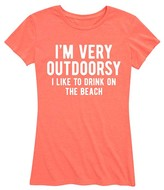 Instant Message Women's Women's Tee Shirts HEATHER - Heather Coral 'I'm Very Outdoorsy' Relaxed-Fit Tee - Women