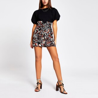 River Island Womens Brown printed button front belted mini skirt