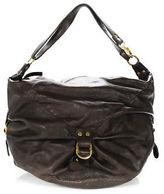 Helena Brown Leather Zipper Closure 2 Pocket Hobo Handbag