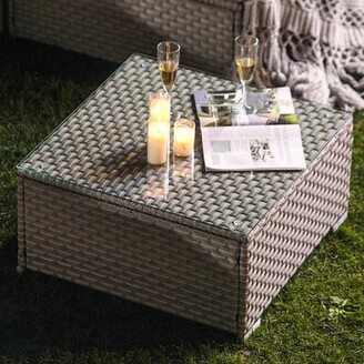 Pool' Wrought Studio Bouscat Outdoor Furniture Warm Gray Wicker Glass-Top Coffee Table For Expanding Sectional Sofa Set For Garden, Pool, Backyard Wrought Studio
