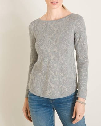 Chico's Textured Animal-Print Bateau-Neck Sweater