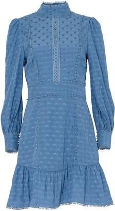 True Decadence Blue Spot Jacquard Mini Dress