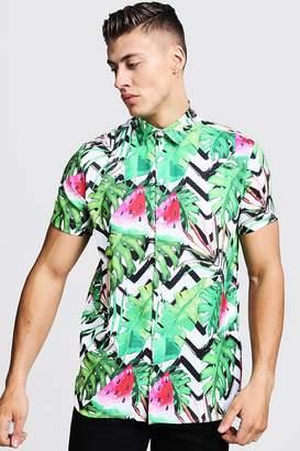 boohoo Watermelon Print Short Sleeve Shirt