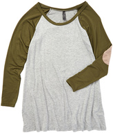 Magic Fit Olive & White Elbow Patch Raglan Tee