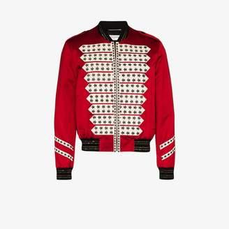 Saint Laurent satin Officer bomber jacket