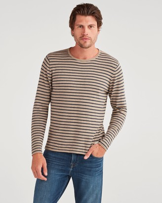 7 For All Mankind Riviera Sweater in Sand with Navy Stripe