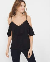 White House Black Market Short-Sleeve Cold-Shoulder Lace Trim Top