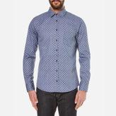 Boss Orange Eslime Micro Paisley Long Sleeve Shirt Dark Blue