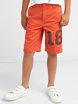 Graphic flat front shorts