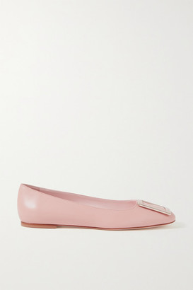 Roger Vivier Tres Vivier Embellished Leather Ballet Flats - Blush