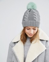 Urban Code Urbancode Knitted Beanie Hat With Faux Fur Pom Pom