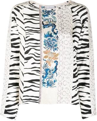 Pierre Louis Mascia Patchwork-Print Silk Blouse