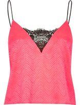River Island Womens Bright coral lace cami pajama top