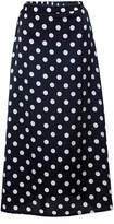Z&I Women's Maxi Skirts BLACK - Black Polka Dot Side-Slit Midi Skirt - Women & Juniors