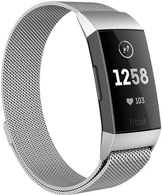 Posh Tech Small Stainless Steel Band for Fitbit Charge 3 - Silver
