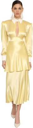 ROWEN ROSE Art Deco Silk Satin Shirt Dress