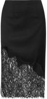 Alice + Olivia Evana Lace-paneled Wool-blend Crepe Skirt