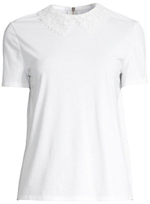 Kate Spade Lace Collar Short-Sleeve Top