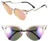Fendi Women's Crystal 52Mm Tipped Cat Eye Sunglasses - Havana Gold Vio/ G5