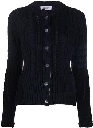 Thom Browne 4-Bar cable-knit merino cardigan