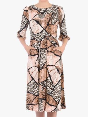 Jolie Moi Roll Collar Animal Print Shift Dress, Brown Pattern