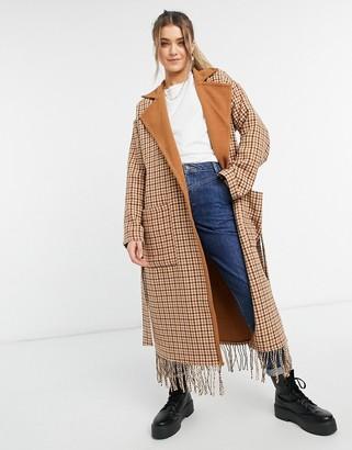BB Dakota check belted tassle coat in tan