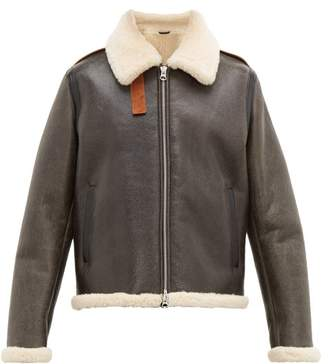 Acne Studios Messhe Leather And Shearling Jacket - Mens - Dark Brown