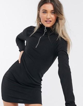 Brave Soul zip front jersey dress in black