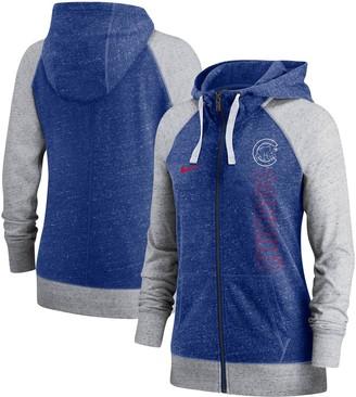 Nike Women's Royal Chicago Cubs In Pocket Gym Vintage Full-Zip Hoodie