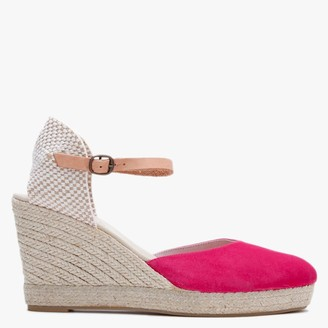 Carmen Saiz Pink Suede Closed Toe Wedge Espadrilles