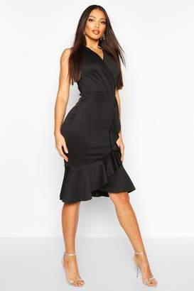 boohoo Ruffle Structured Scuba Dress