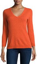 Neiman Marcus Cashmere V-Neck Basic Sweater, Orange