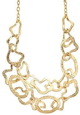 Kenneth Jay Lane Two-Row Satin Gold Wavy Necklace