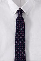 Lands' End Men's Long Silk Texture Multi Floral Necktie-Orange Poppy Stripe