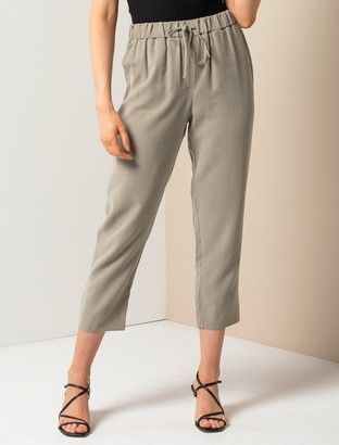 Forever New Leilani Elastic-Waist Tapered Pants - Khaki - 10