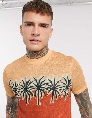 Asos DESIGN two-piece t-shirt with palm tree print in linen look fabric