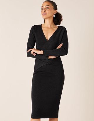 Monsoon Shimmer Knit Wrap Dress Black