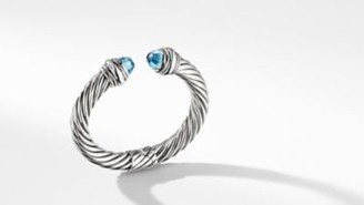 David Yurman Cable Classic Collection Bracelet With Blue Topaz