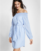 Express striped off the shoulder cotton blend shift dress