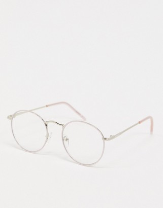 ASOS DESIGN clear lens glasses with baby pink frame