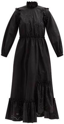 Biyan Ammon Asymmetric Broderie-anglaise Cotton Dress - Black