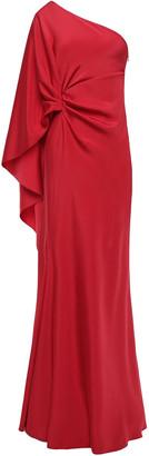 Alberta Ferretti One-shoulder Draped Satin-crepe Gown