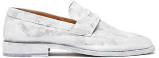 Maison Margiela Tabi Split-toe Painted Leather Loafers - White Multi