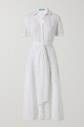 Melissa Odabash Vanessa Belted Broderie Anglaise Cotton Midi Shirt Dress - White