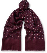 J.Crew Printed Wool And Silk-blend Scarf - Burgundy